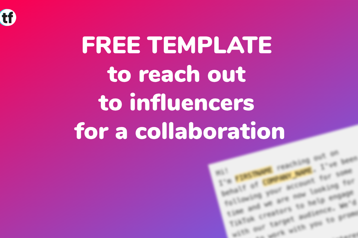 Free template to reach out to influencers for a collaboration
